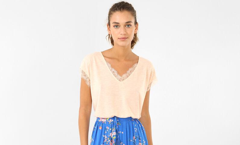 Kanten T-shirt bleekroze