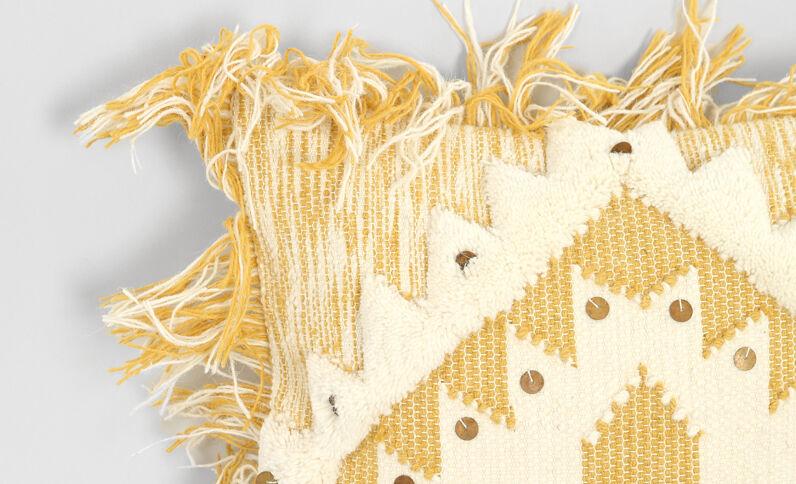 Housse de coussin à franges blanc