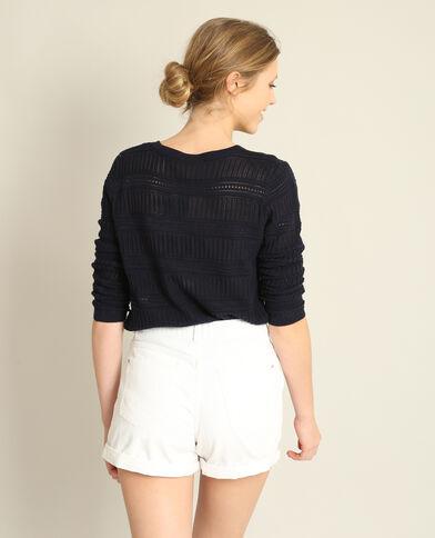 Opengewerkte trui marineblauw