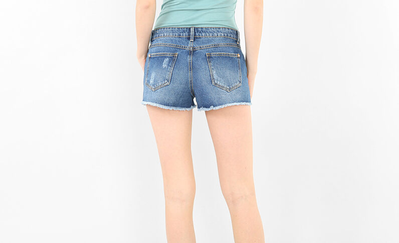Denim destroyed short blauw