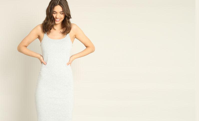 Strakke jurk gemêleerd grijs