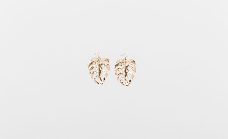 Boucles d'oreilles feuilles doré