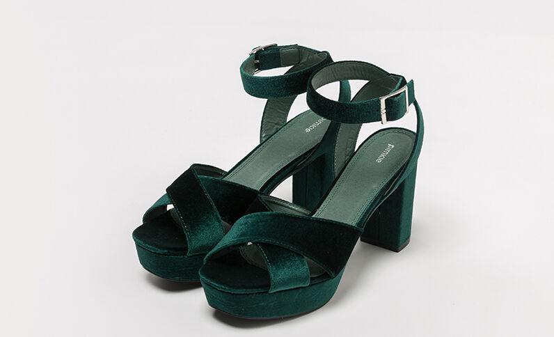 Sandales à plateau velours vert