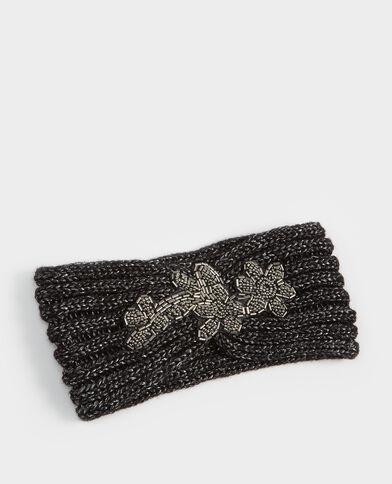 Hoofdband van tricot met sieraad zwart