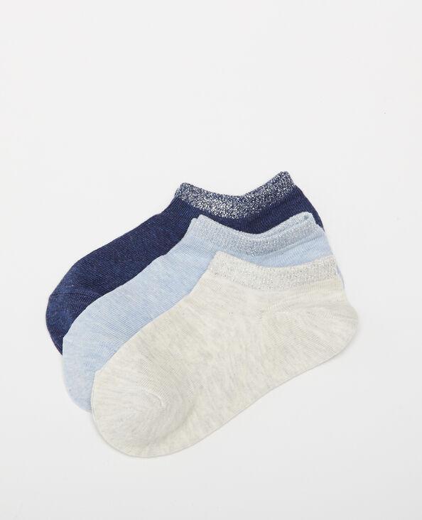Set van 3 paar lage sokken blauw