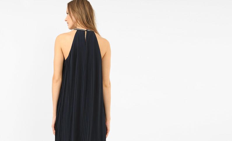 Geplooide jurk met sieraden marineblauw