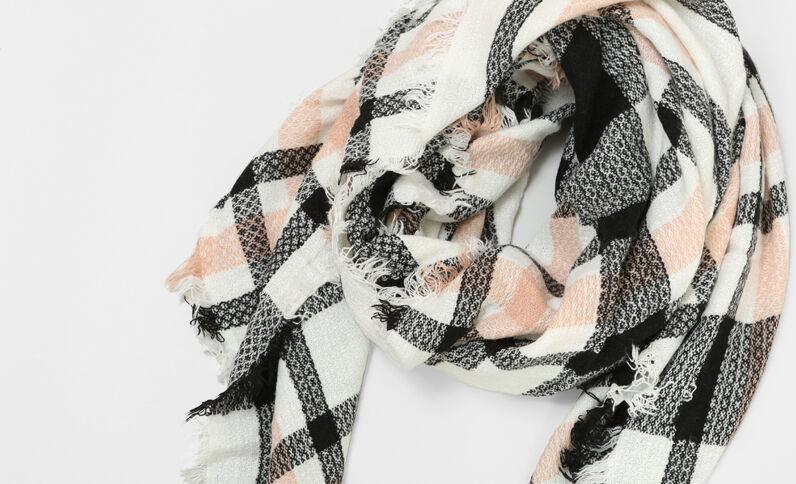 Foulard à carreaux blanc cassé