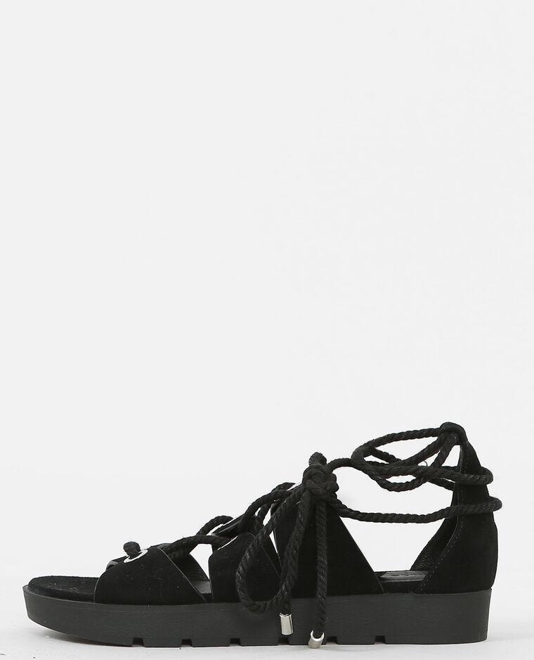 Platte sandalen met knooplint zwart