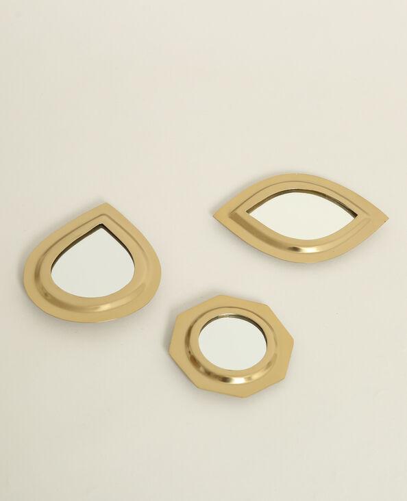 Set van 3 spiegeltjes goudkleurig