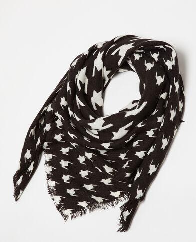 Dunne sjaal met print zwart