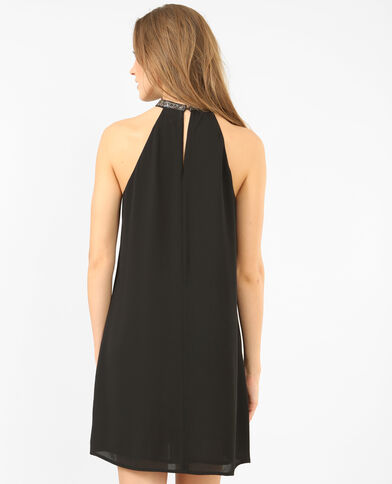 Robe col bijoux noir