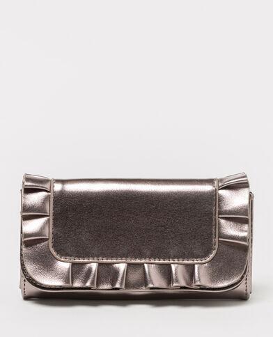 Lange portefeuille met ruche grijs