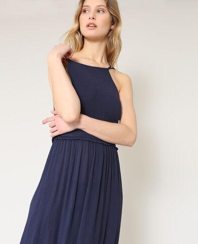 Lange jurk met dunne bandjes marineblauw