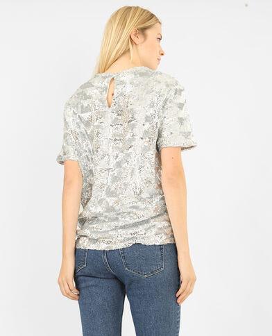 T-shirt met pailletten zilvergrijs