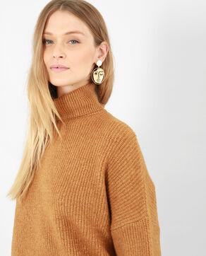 Warme trui met rolkraag camel