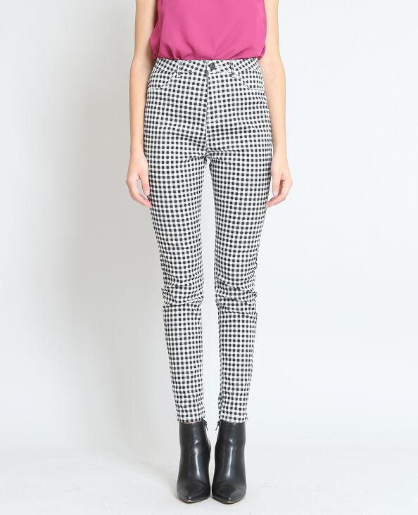 Skinny broek met vichyruitjes grijs
