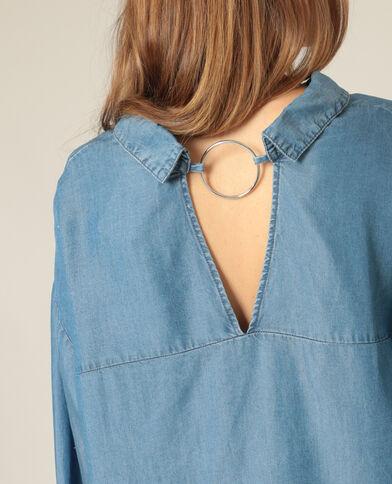 Hemd met open achterkant blauw