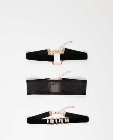Lot de 3 chokers noir