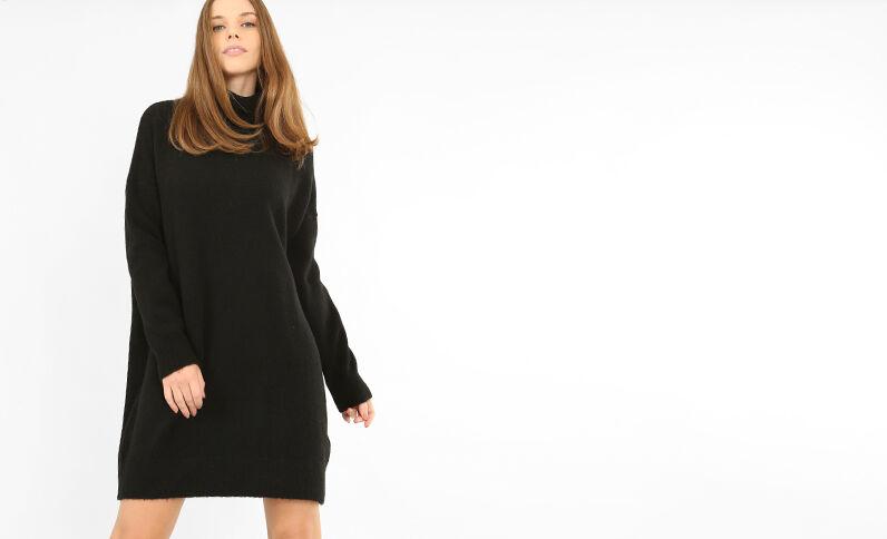 Trui-jurk met rolkraag zwart