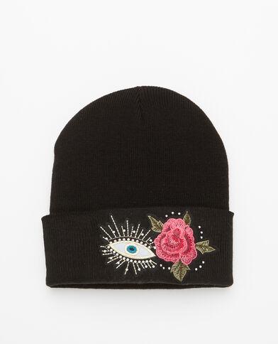 Bonnet à patchs brodés noir