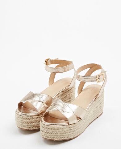 Sandalen met sleehak goudkleurig