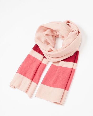 Driekleurige sjaal van tricot poederroze