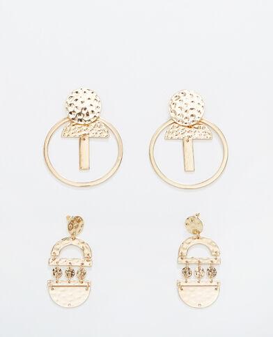 2 paar oorbellen goudkleurig
