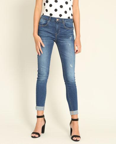 Slim fit jeans met omslag blauw