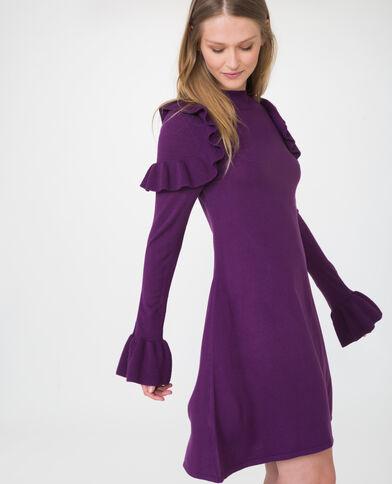 Trui-jurk met ruches violet