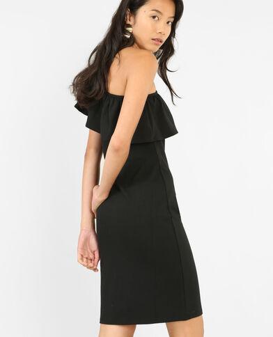 Strakke one shoulder-jurk zwart