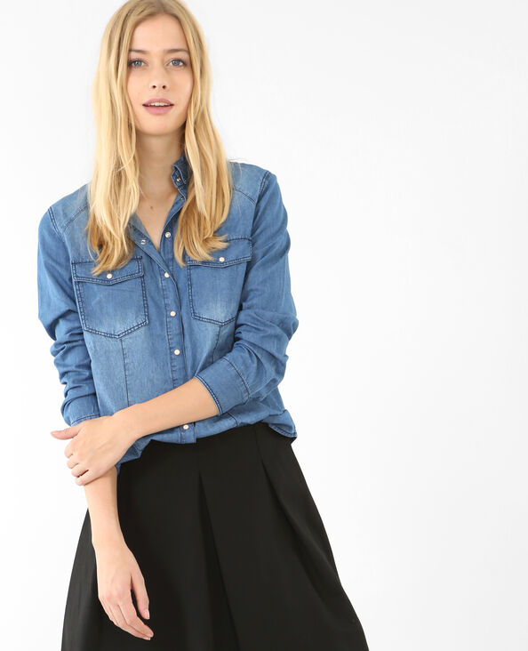 Denim blouse blauw
