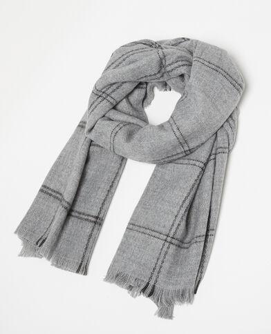 Echarpe chaude à carreaux gris