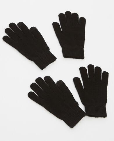 Set van 2 paar handschoenen zwart