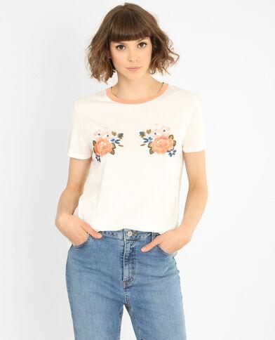 T-shirt à message blanc cassé