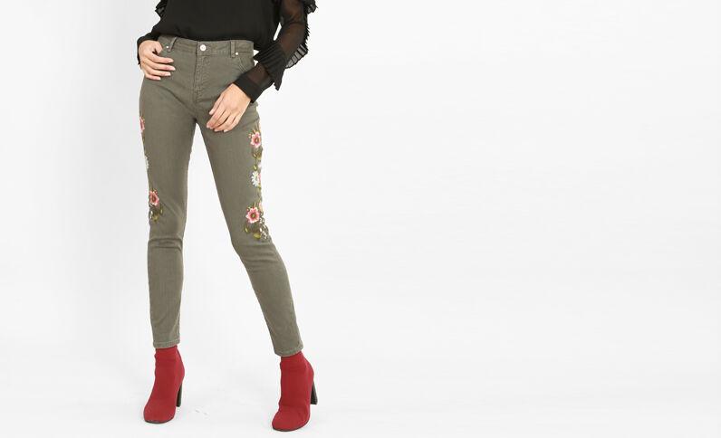 Geborduurde slim fit jeans kaki