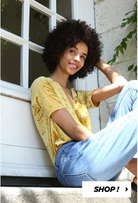 PIMKIE T-shirt velours jaune Jean taille haute