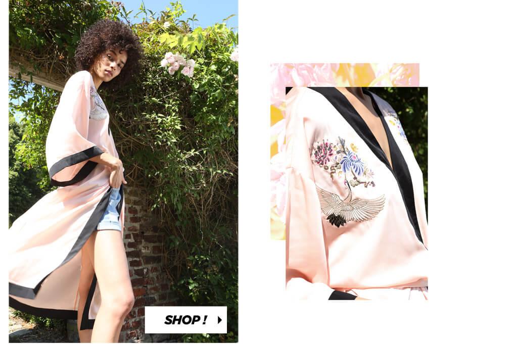 PIMKIE Kimono rose Short jean