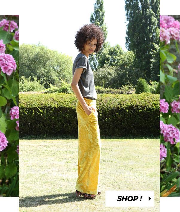 PIMKIE Pantalon velours jaune T-shirt gris