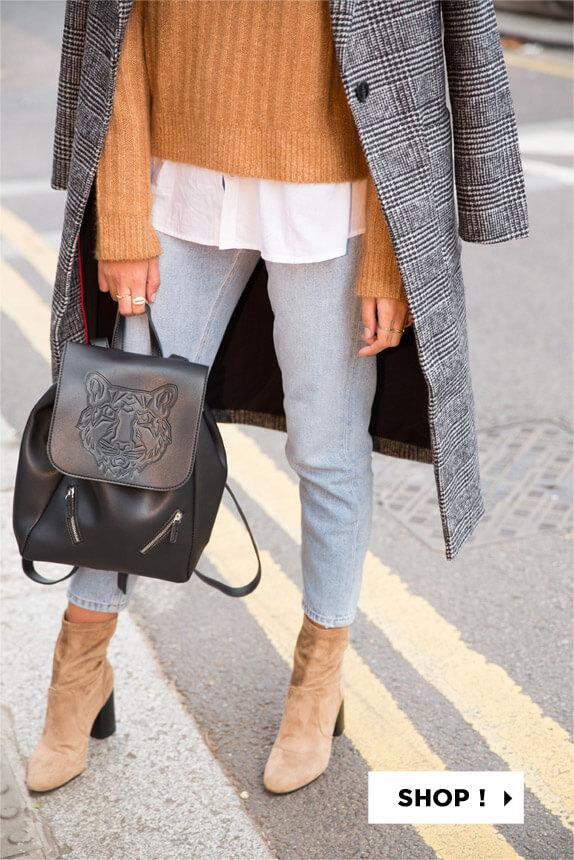 PIMKIE Mantel met ruitjespatroon, Basic trui, Ruim hemd, Destroyed mom jeans, Laarzen met huideffect