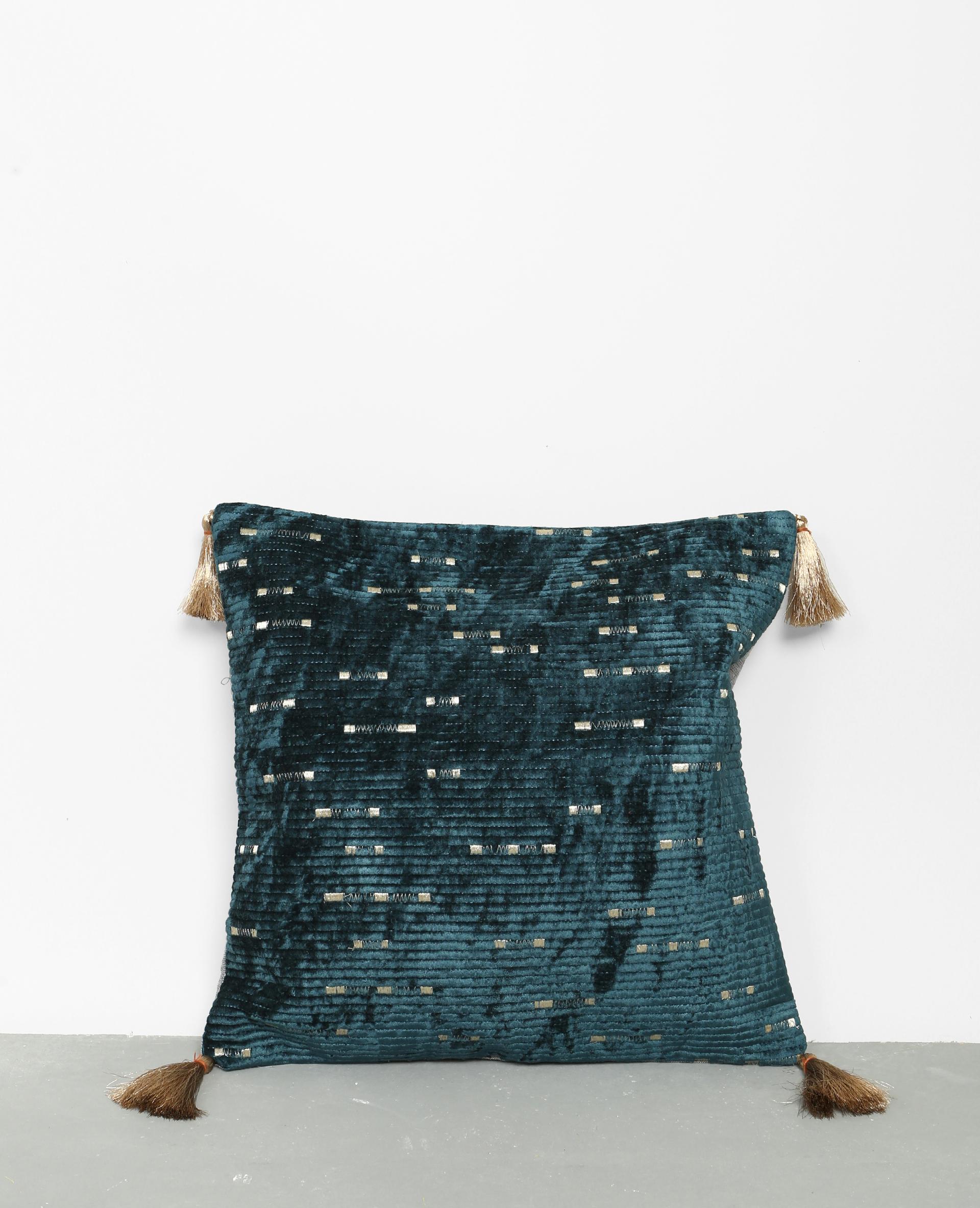 housse de coussin brod e bleu canard 907670b36a06 pimkie. Black Bedroom Furniture Sets. Home Design Ideas