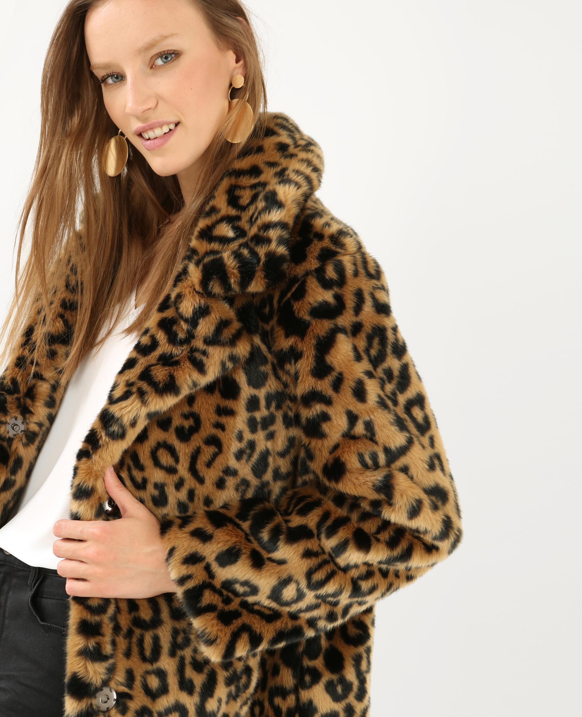 manteau l opard fausse fourrure beige 280147714i08 pimkie. Black Bedroom Furniture Sets. Home Design Ideas