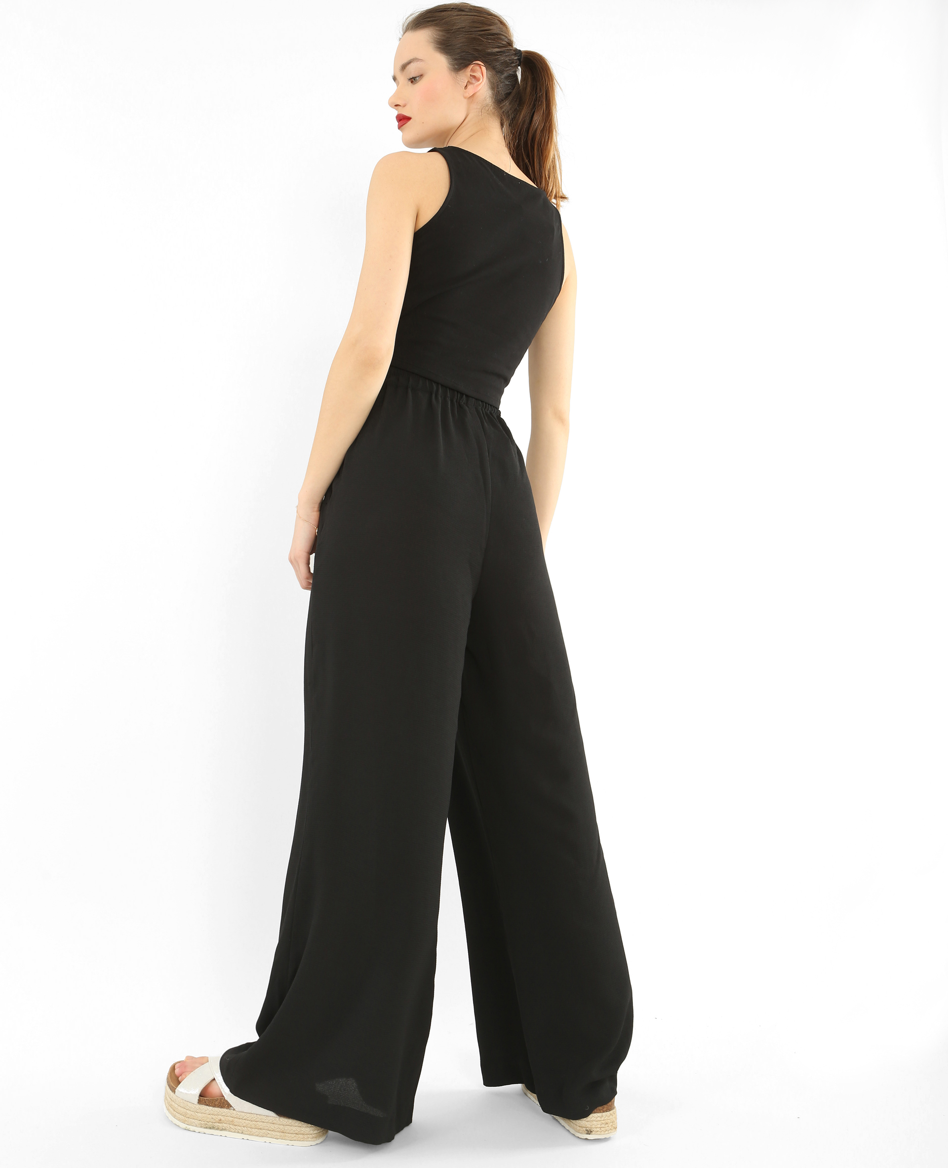 pantalon large effet cr pe noir 140272899a08 pimkie. Black Bedroom Furniture Sets. Home Design Ideas