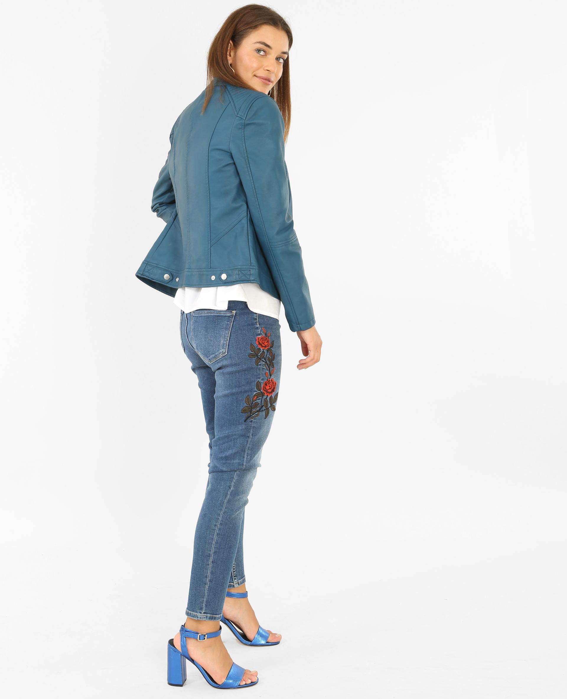 veste en simili cuir bleu canard 323112b36a06 pimkie. Black Bedroom Furniture Sets. Home Design Ideas