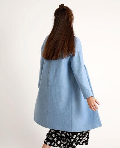 Lange jas met wolaandeel Lichtblauw