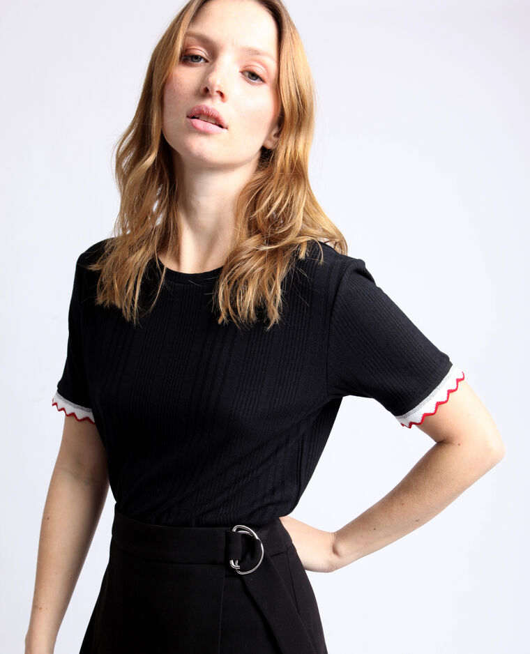 T-shirt van ribstof zwart