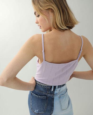 Top met dunne schouderbandjes en kant violet - Pimkie