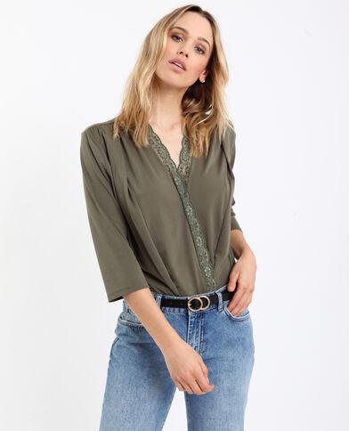 Hemdbody met kant groen