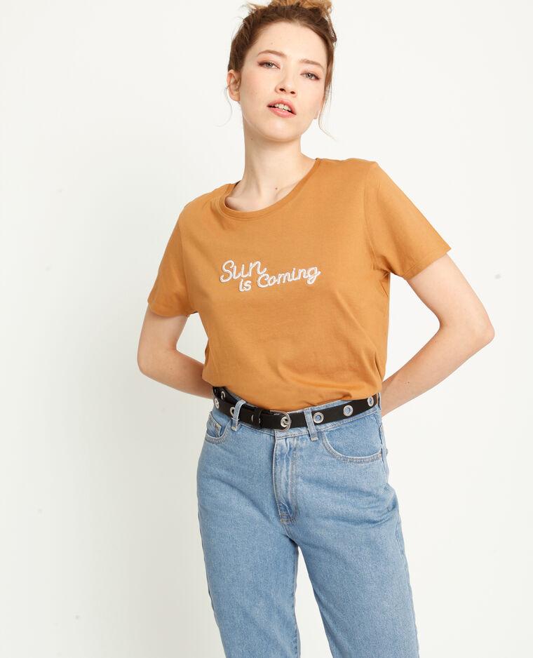 T-shirt à message marron