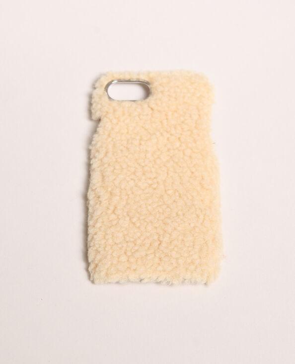 Coque iPhone fourrure écru