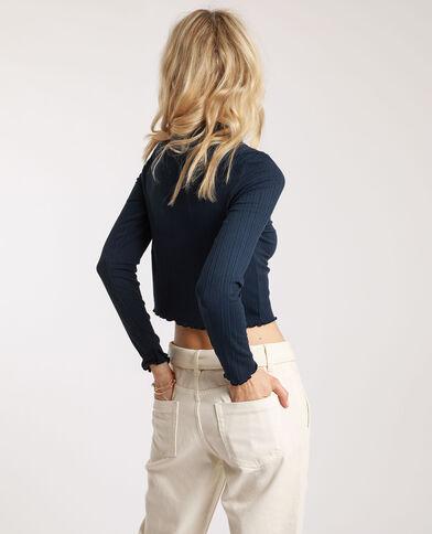 Crop top à manches longues bleu marine